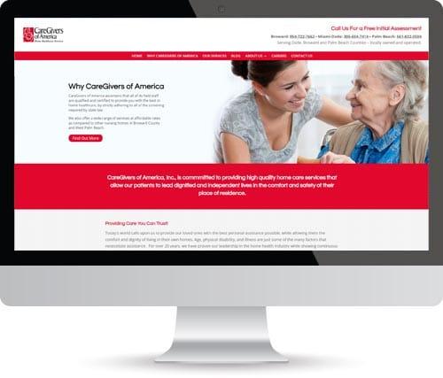 Design Formare Inc - CareGivers of America Website Before
